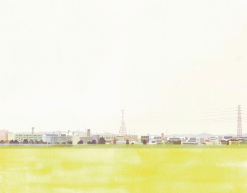 Landscape through train window