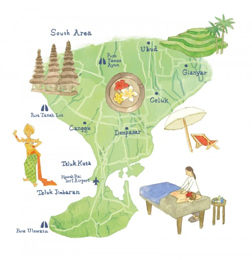 A Map of Southern Part of Bali Island